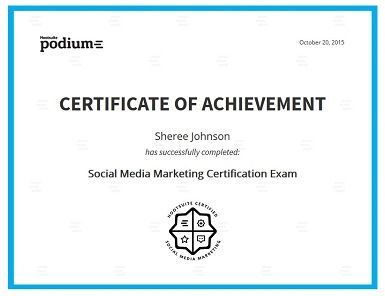 Social Media Marketing Certificate for Sheree Johnson